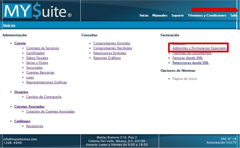 Addenda y Formulario Especial MYSuite